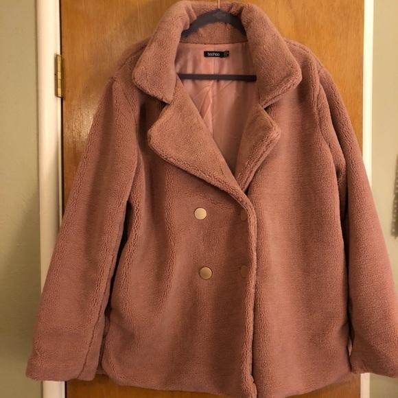 6559eea398f Boohoo Plus Jackets   Blazers - Blush Teddy Bear Coat size 18 Boohoo